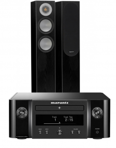 Marantz Melody X. M-CR612 Music System with Monitor Audio Silver 200 Floor Standing Speakers