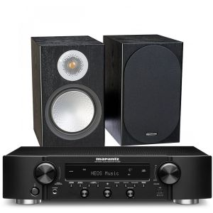 Marantz NR1200 Stereo Network Receiver with Monitor Audio Silver 100 Bookshelf Speakers