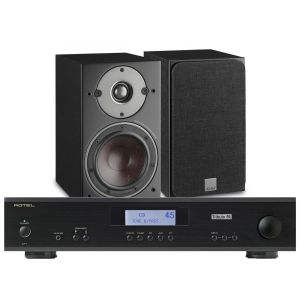 Rotel A11 Tribute Integrated Amplifier with Dali Oberon 1 Bookshelf Speakers