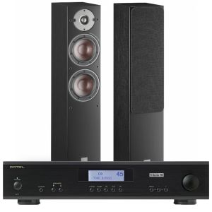 Rotel A11 Tribute Integrated Amplifier with Dali Oberon 5 Floorstanding Speakers