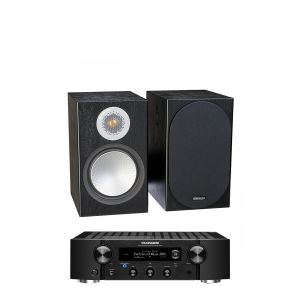 Marantz PM7000N Integrated Stereo Amplifier with Monitor Audio Silver 100 Bookshelf Speakers