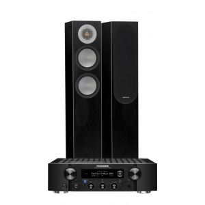 Marantz PM7000N Integrated Stereo Amplifier with Monitor Audio Silver 200 Floor Standing Speakers