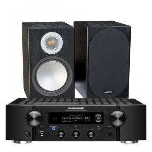 Marantz PM7000N Integrated Stereo Amplifier with Monitor Audio Silver 50 Bookshelf Speakers