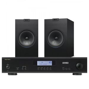 Rotel A11 Tribute Integrated Amplifier with KEF Q150 Bookshelf Speakers