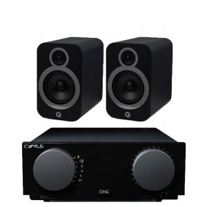 Cyrus One Integrated Amplifier with Q Acoustics 3030i Bookshelf Speakers