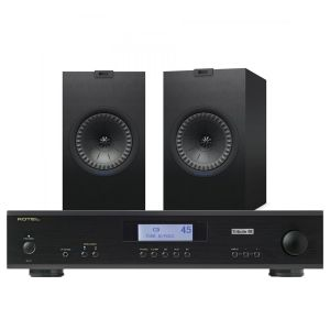 Rotel A11 Tribute Integrated Amplifier with KEF Q350 Bookshelf Speakers