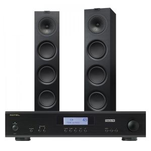 Rotel A11 Tribute Integrated Amplifier with KEF Q750 Floorstanding Speakers