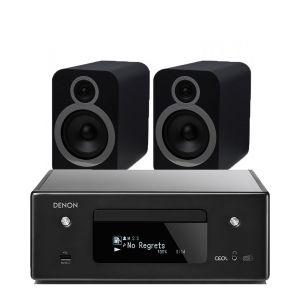 Denon CEOL N11DAB  Hi-Fi-Network CD Receiver with Q Acoustics 3030i Bookshelf Speakers
