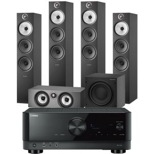 Yamaha RX-V4A AV Receiver with Bowers & Wilkins 603 S2 Anniversary Edition 5.1 Home Cinema Speaker Package (603 S2 Rears)