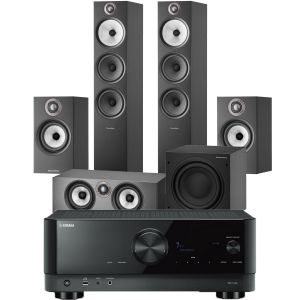 Yamaha RX-V4A AV Receiver with Bowers & Wilkins 603 S2 Anniversary Edition 5.1 Home Cinema Speaker Package (607 S2 Rears)