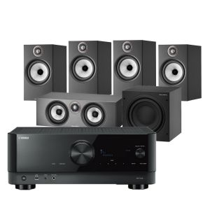 Yamaha RX-V4A AV Receiver with Bowers & Wilkins 606 S2 Anniversary Edition 5.1 Home Cinema Speaker Package (606 S2 Rears)