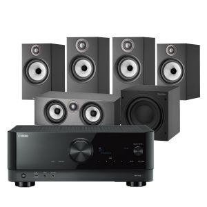 Yamaha RX-V4A AV Receiver with Bowers & Wilkins 606 S2 Anniversary Edition 5.1 Home Cinema Speaker Package (607 S2 Rears)