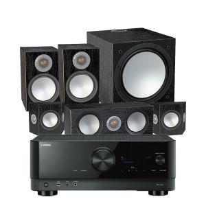 Yamaha RX-V4A AV Receiver with Monitor Audio Silver 100 AV 5.1 Speaker Pack