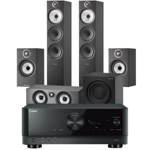Yamaha RX-V6A AV Receiver with Bowers & Wilkins 603 S2 Anniversary Edition 5.1 Home Cinema Speaker Package (607 S2 Rears)