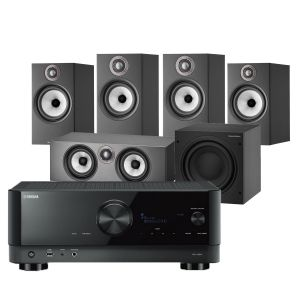 Yamaha RX-V6A AV Receiver with Bowers & Wilkins 606 S2 Anniversary Edition 5.1 Home Cinema Speaker Package (607 S2 Rears)