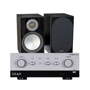 LEAK Stereo 130 Integrated Amplifier with Monitor Audio Silver 100 Bookshelf Speakers