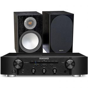 Marantz PM6007 Integrated Amplifier with Monitor Audio Silver 100 Bookshelf Speakers