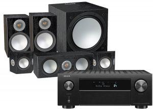 Denon AVC-X4700H AV Amplifier with Monitor Audio Silver 100 AV 5.1 Speaker Pack