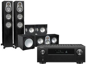 Denon AVC-X4700H AV Amplifier with Monitor Audio Silver 300 AV12 5.1 Speaker Pack