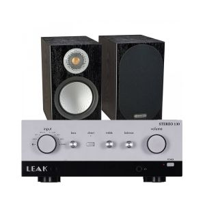 LEAK Stereo 130 Integrated Amplifier with Monitor Audio Silver 50 Bookshelf Speakers