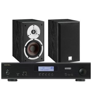 Rotel A11 Tribute Integrated Amplifier with Dali Spektor 2 Bookshelf Speakers